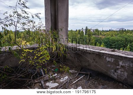 Inside the hotel in abandoned Pripyat city in Chernobyl Exclusion Zone Ukraine