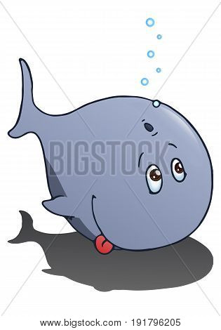 cartoon illustration of a big whale diving on isolated white background
