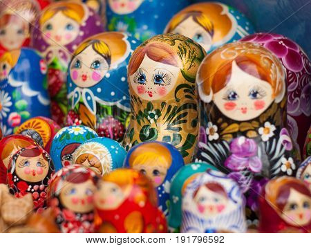 Matryoshka. Russian nesting doll. Traditional Russian souvenir