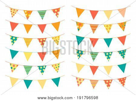 Triangle shaped bunting flags in bright colors for invitations greeting cards and scrapbooking