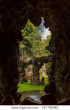 Grotto in Castle Quinta da Regaleira - Sintra Portugal - travel background