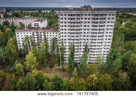 16 storey apartment building in abandoned Pripyat city in Chernobyl Exclusion Zone Ukraine