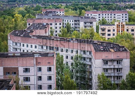 Aerial view on residential area of abandoned Pripyat city in Chernobyl Exclusion Zone Ukraine