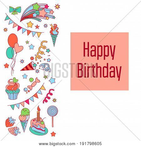 Hand-drawn elements baloons, fireworks, stars, flag for patches, stickers, design cards and leaflets Cartoon elements characters