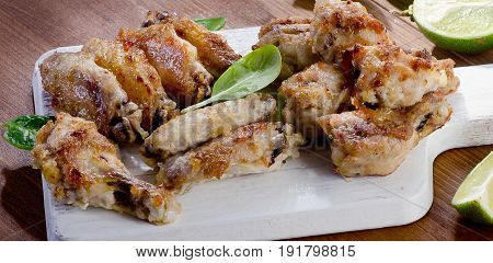 Chicken Wings On A Cutting Board.