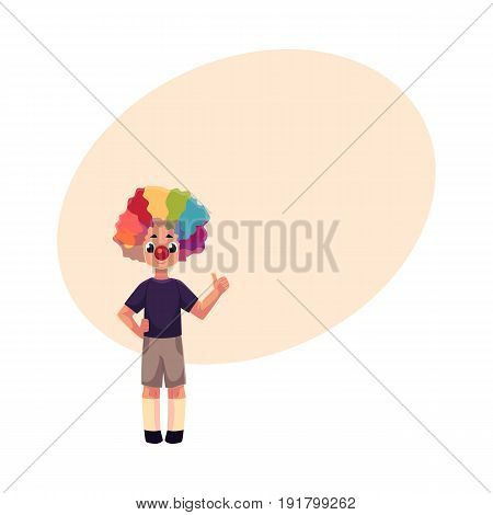 Little boy wearing clown nose and rainbow colored wig showing thumb up, cartoon vector illustration with space for text. Full length portrait of little boy wearing clown red nose and wig