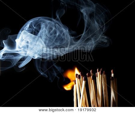 Matches with the fire and smoke