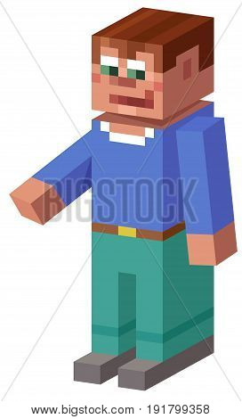 Cartoon Illustration of Cubical Boy 3d Game Character