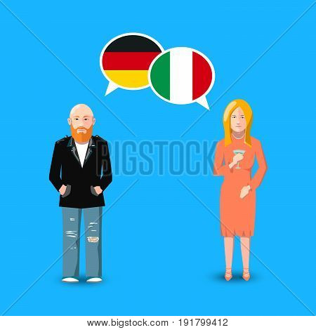 Two people with white speech bubbles with Germany and Italy flags. Language study conceptual illustration