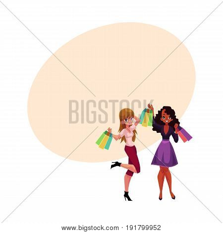 Two happy women, girls, friends with shopping bags, holiday sale concept, cartoon vector illustration with space for text. Couple of girls, women with shopping bags, happy shopping concept