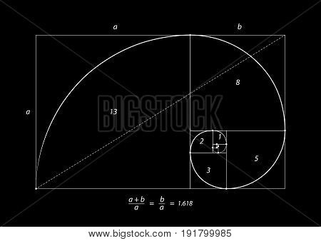 Golden section isolated on black background, vector illustration