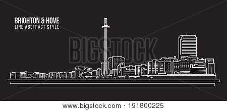 Cityscape Building Line art Vector Illustration design - Brighton and Hove city