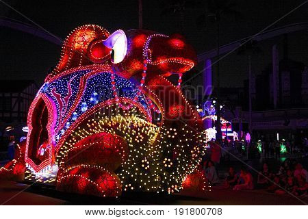 Osaka. Japan - August 12, 2016: Night of Magical Starlight Parade at Universal Studios Theme Park in Osaka, Japan.