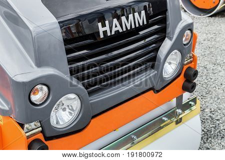 Moscow, Russia - may 30, 2017: technology company Hamm on international specialized exhibition construction equipment and technologies CTT Moscow in 2017. Russia