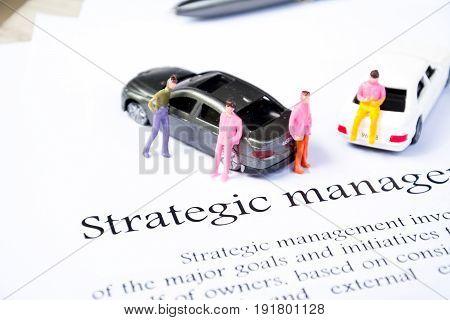 strategic management for concept on white background