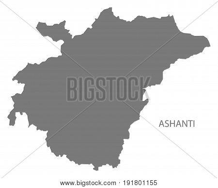Ashanti region of Ghana map grey illustration silhouette