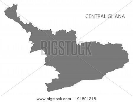 Central Ghana region map grey illustration silhouette