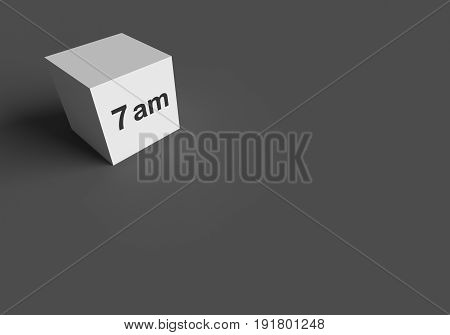 3D RENDERING WORDS 7 am ON WHITE CUBE, STOCK PHOTO