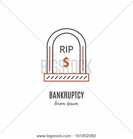 Vector financial bankruptcy  symbol isolated on white background. Grave icon in linear style.