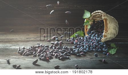 close-up of overturned basket of fresh berries of honeysuckle on dark boards