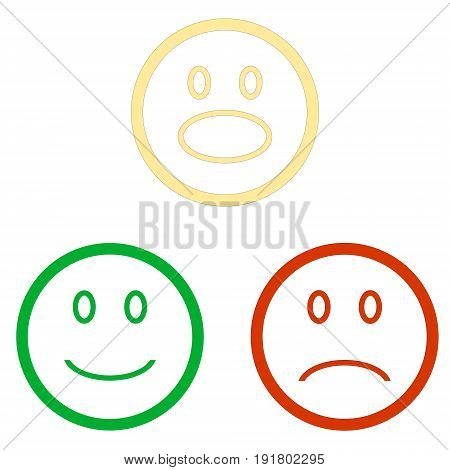 Set of smile emoticons isolated on white background. Line icons emoticons. Happy, surprised and unhappy smileys. Emoji set lightfur. Green, yellow and red color. Vector illustration stock