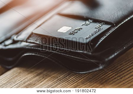 Plastic Credit Card In Leather Wallet