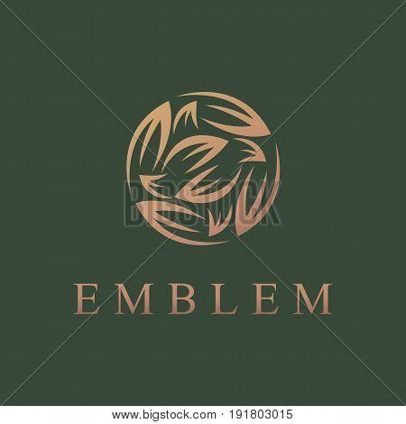 Floral logo. Flower icon. Floral emblem. Cosmetics, Spa, Beauty salon, Decoration, Boutique logo. Luxury, Business, Royal Jewelry, Hotel, Premium Logo. Interior Icon. Resort and Restaurant Logo.