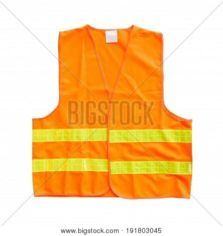 Safety orange vest isolated on a white background