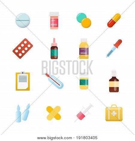 Medicine cartoon pill drug table antibiotics medication dose. Flat design modern vector illustration concept.