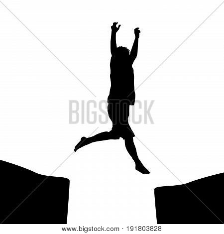 Man silhouette jumping over a gap, success concept