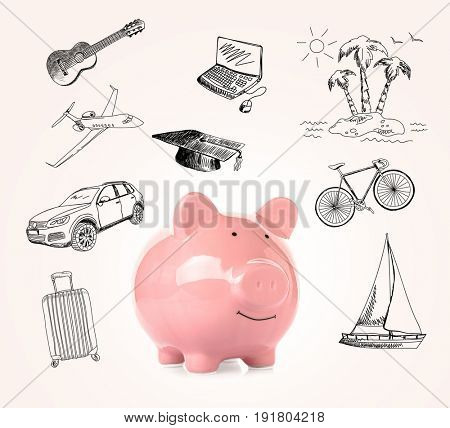Piggy bank and different drawings on light background. Concept of money and dream