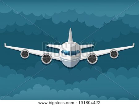 Vector illustration of airplane flies in the clouds