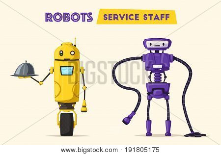 Robot cleaner character. Technology, future. Cartoon vector illustration. Vintage style. Funny robot waiter, cute character. Future is now. Restaurant worker