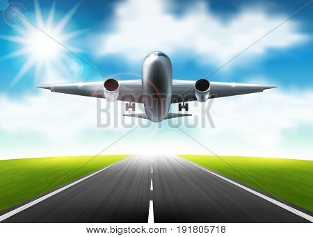 Vector illustration of airplane flying over the runway