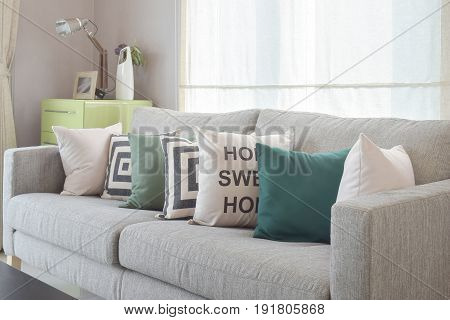 Cozy Gray Sofa With Geometry Pattern Pillows In Modern Living Room