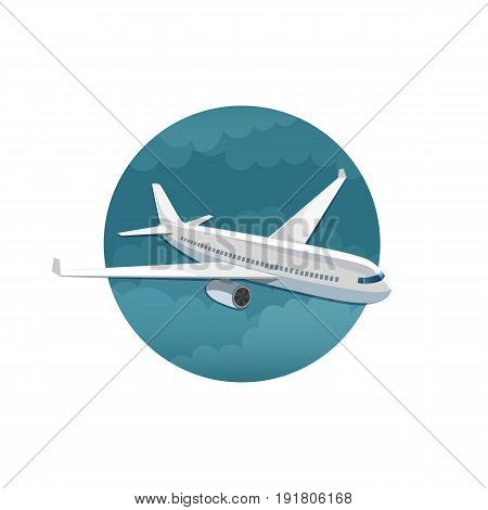 Vector icon of airplane side view on white background