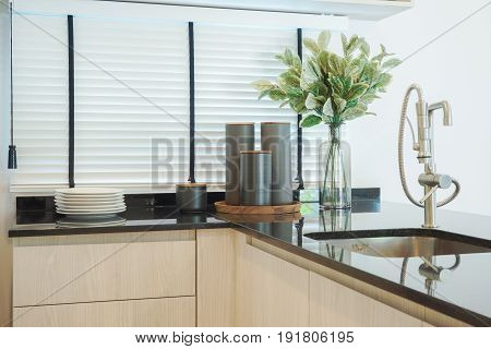 Simply Style Kitchen Counter With Black Granite Counter Top