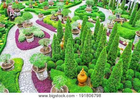 CHONBURI THAILAND - 4th June 2015: Beautiful garden decoration in Nong Nooch Tropical Botanical Garden. Nong Nooch Tropical Botanical Garden is a 500-acre botanical garden in Chonburi Thailand.