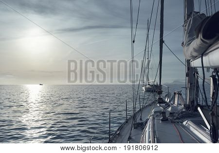 Yacht in the Mediterranean Sea at sunset. Cala Saona in Formentera Balearic Islands. Spain