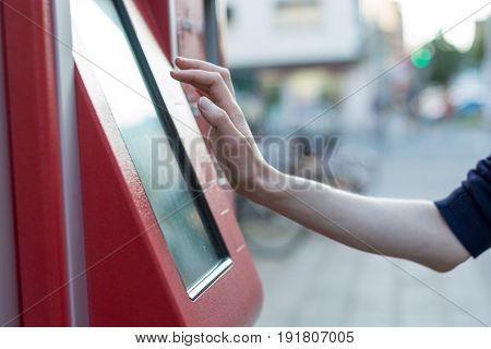 Red German Ticket Machine In The Street
