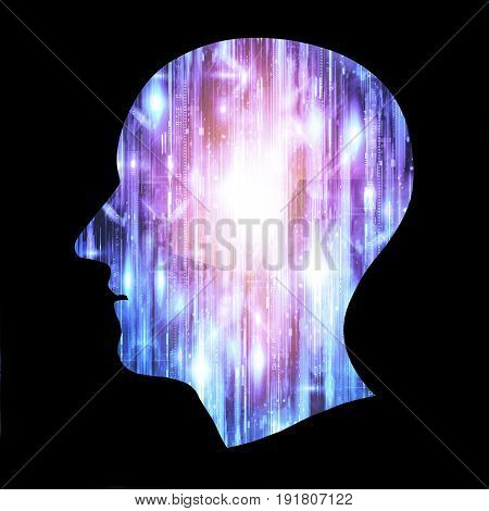 Brain works Artificial intelligence (AI) and High Tech Concept. Human and conceptual cyberspace smart artificial intelligence. Future science with modern technology.