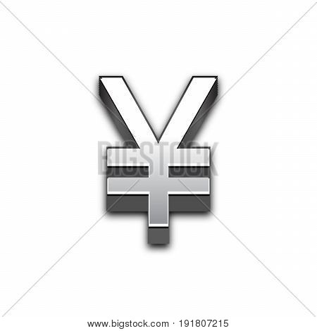 Yen 3d sign illustration isolated. Vector currency symbol.