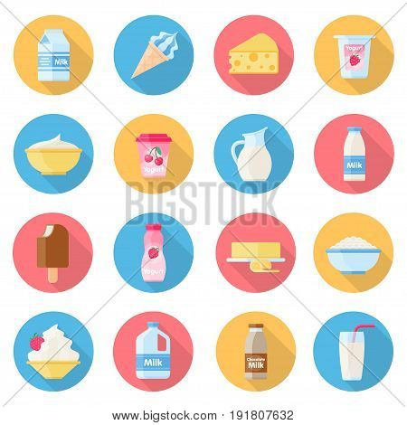 Dairy products icon set, display of food produced from the milk, farmers market, long shadow effect. Vector flat style cartoon illustration isolated on white background