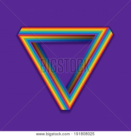 LGBT pride symbol. Rainbow seamless triangle on a violet. The Penrose triangle, Penrose tribar. LGBT community safe zone. Vector illustration.