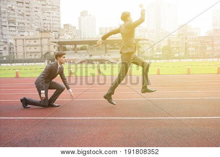 Business Man Starting New Business And Work Career And Winning With Success On Running Track - Succe