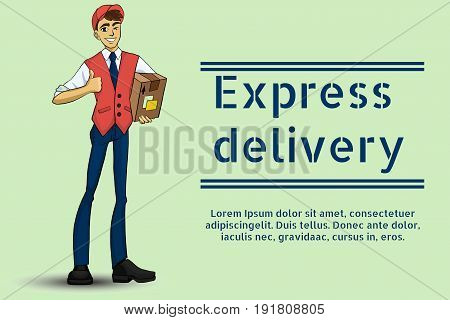 Vector illustration of a young guy delivering goods. Cartoon styled deliveryman. Delivery service