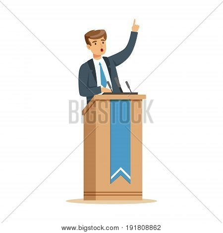 Young politician speaking behind the podium, public speaker character vector Illustration isolated on a white background