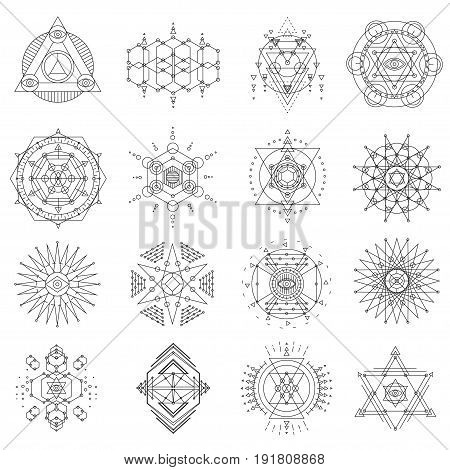 Sacred geometry line art set. Symbolic proportions, esoteric perfection of eye, snow flakes, pine cones, flower petals, diamond crystals. Vector flat style illustration isolated on white background