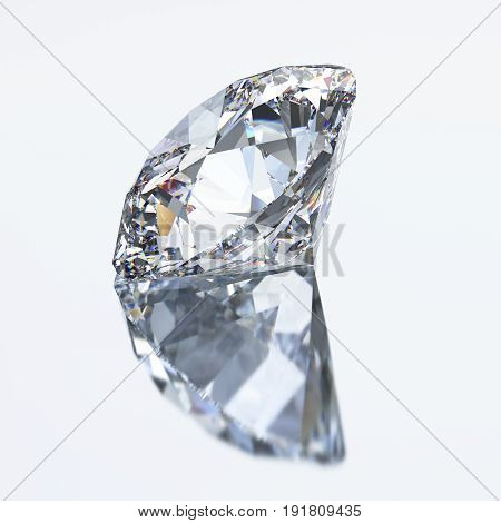 3D illustration diamond with reflection on a gray background