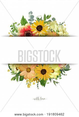 Vector design vertical card. Yellow sunflower soft hydrangea flowers orange dahlia eucalyptus jasmine branches leaves. Elegant summer autumn blank stripe for text space invitation isolated white
